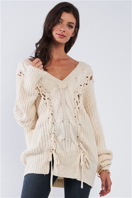 Cable Knit Draw String Self Tie V-Neck Sweater
