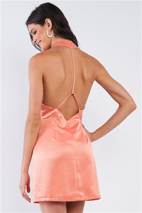 Coral Satin Razor Back Strap Cocktail Mini Dress