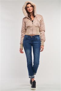 Image of a taupe bomber jacket that's cropped at the midriff, features a removable faux-fur hood with drawstrings, a zipper closure, and two zipper breast pockets.