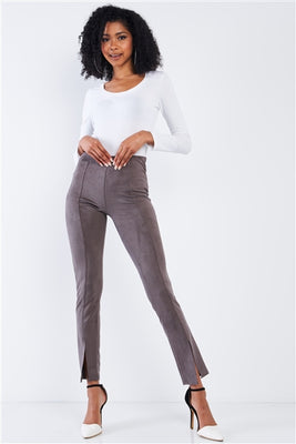 Concrete Grey Suede High Waist Ankle Length Pants