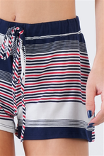 Load image into Gallery viewer, Navy Stripe Woven Shorts