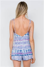 Load image into Gallery viewer, Purple Tie Dye Cami Self Tie Boho Romper