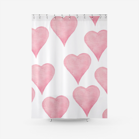 Blush Pink Heart Textured Fabric Shower Curtain Printed Bathroom Curtains