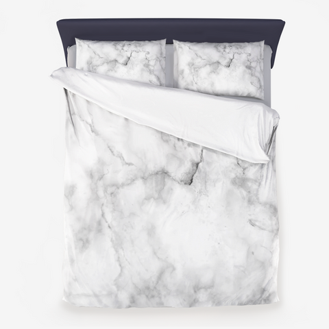 Classic Black and White Marble Microfiber Duvet Cover