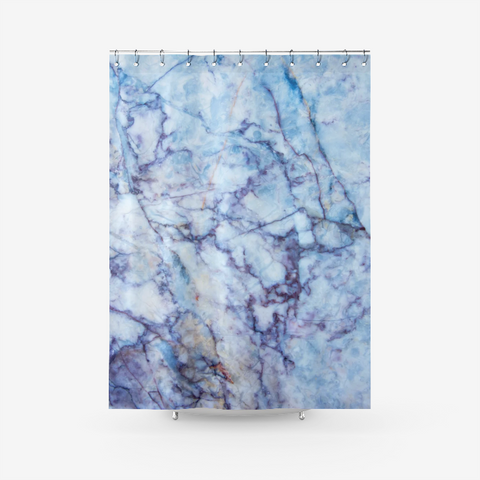 Ocean Blue Marble Art Textured Fabric Shower Curtain