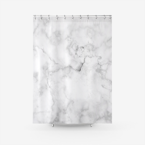 Classic Black And White Marble Textured Fabric Shower Curtain