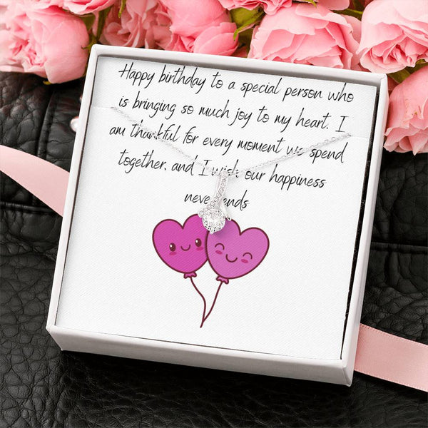 14K White Gold Alluring Beauty Necklace With Happy Birthday Message Card