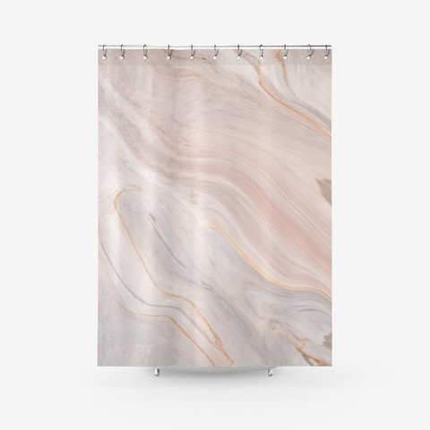 Calm Peachy Marble Art Textured Fabric Shower Curtain