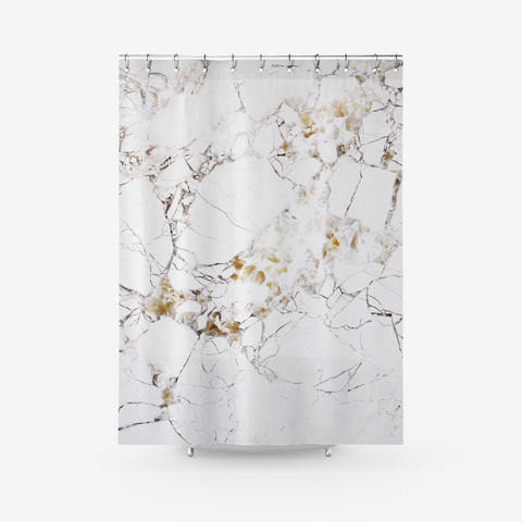 Black White And Gold Marble Art Textured Fabric Shower Curtain