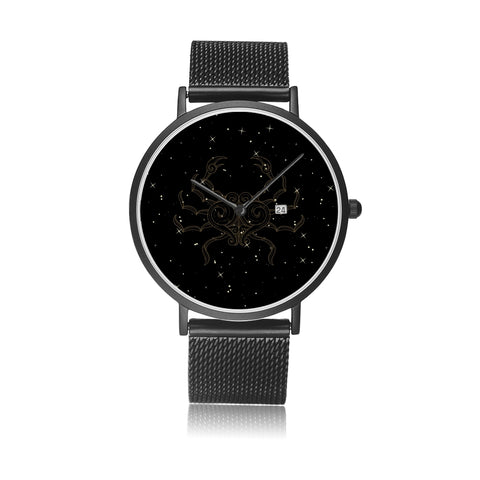 Cancer Zodiac With Stainless Steel Strap Water-resistance, Calendar Quartz Watch