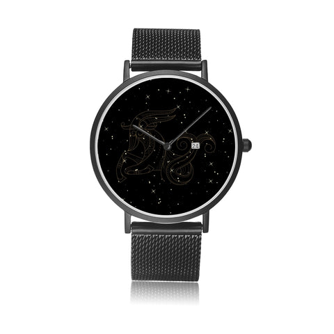 Capricorn Zodiac With Stainless Steel Strap Water-resistance, Calendar Quartz Watch