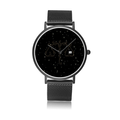 Libra Zodiac With Stainless Steel Strap Water-resistance, Calendar Quartz Watch