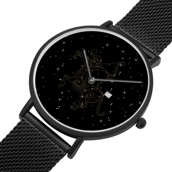 Sagittarius Zodiac With Stainless Steel Strap Water-resistance, Calendar Quartz Watch