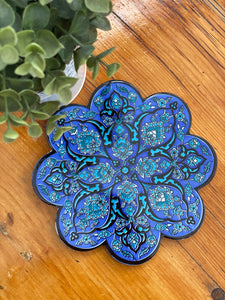 Turkish trivet~ purple & teal