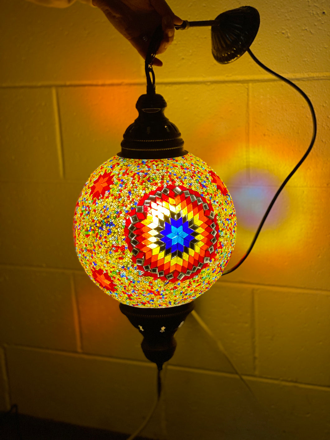 Turkish Handmade Ceiling Lamp - multicoloured, mirror, gold