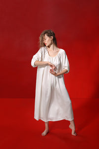 Aphrodite draped silk dress - pearl