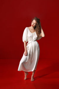 Aphrodite draped silk dress with a silk belt - oyster