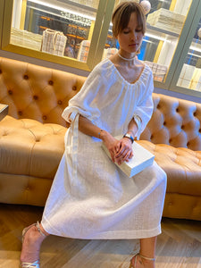 Grace Kelly linen maxi dress - pearl