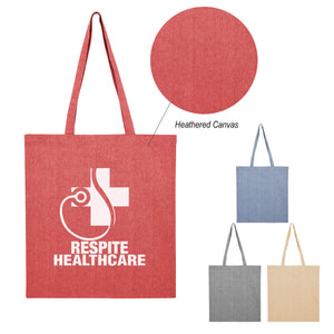15x16 HEATHERED COTTON FLAT TOTE BAG