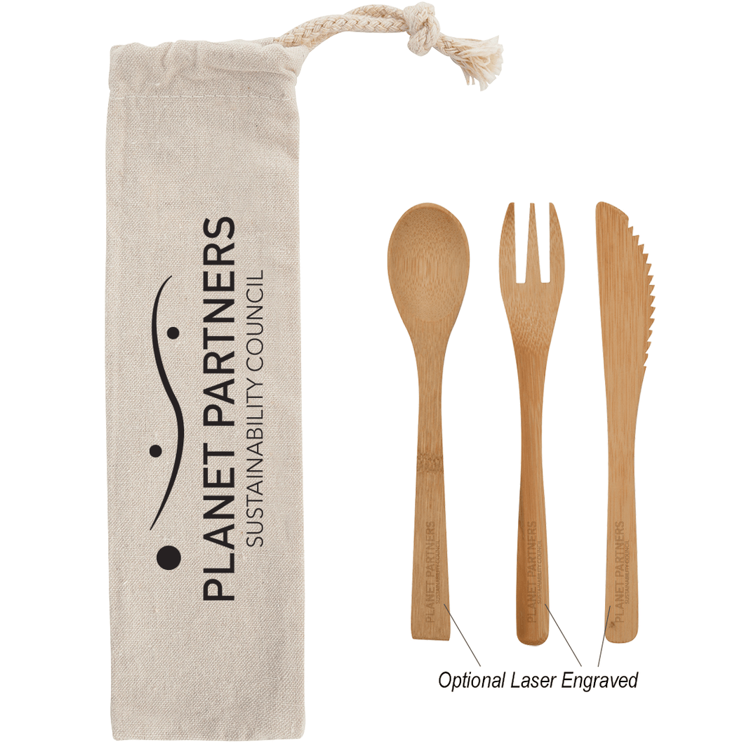 3 PIECE BAMBOO UTENSIL SET WITH COTTON POUCH