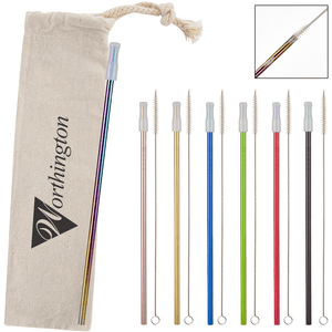 COLORFUL STAINLESS STEEL STRAW KIT