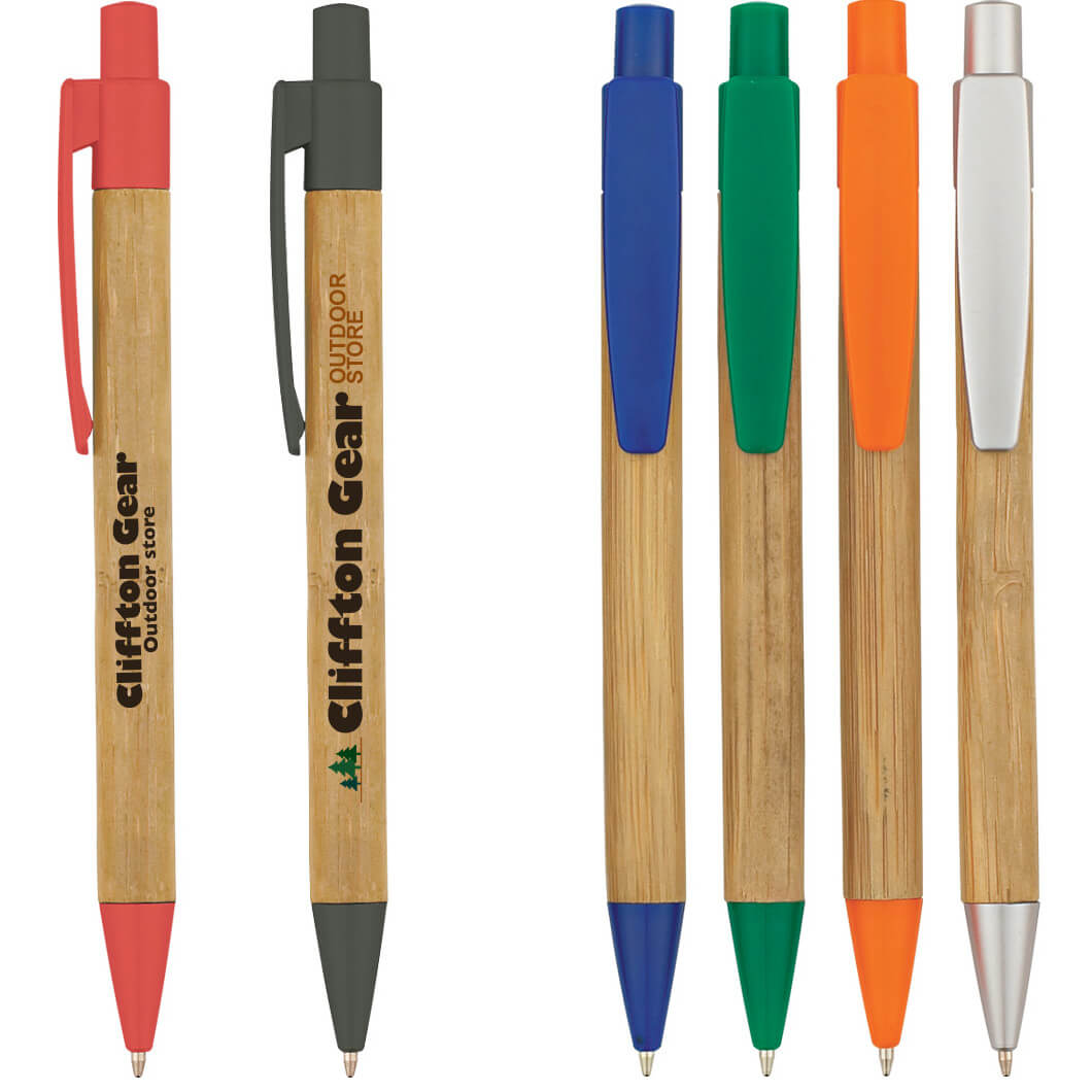 RETRACTABLE BAMBOO PEN WITH PLASTIC TRIM