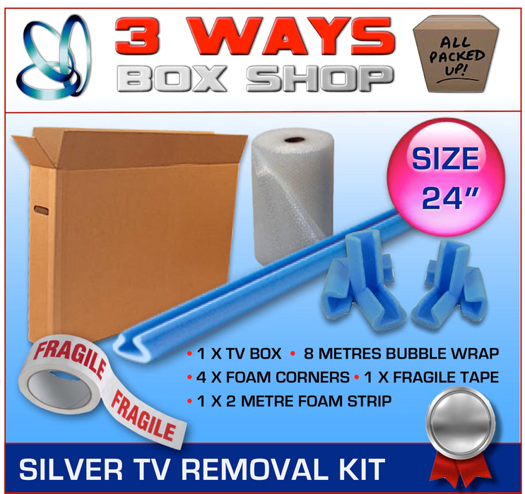 24 inch TV Box Kit House Removal Television Bubble Wrap 3 Ways Box Shop Peterborough