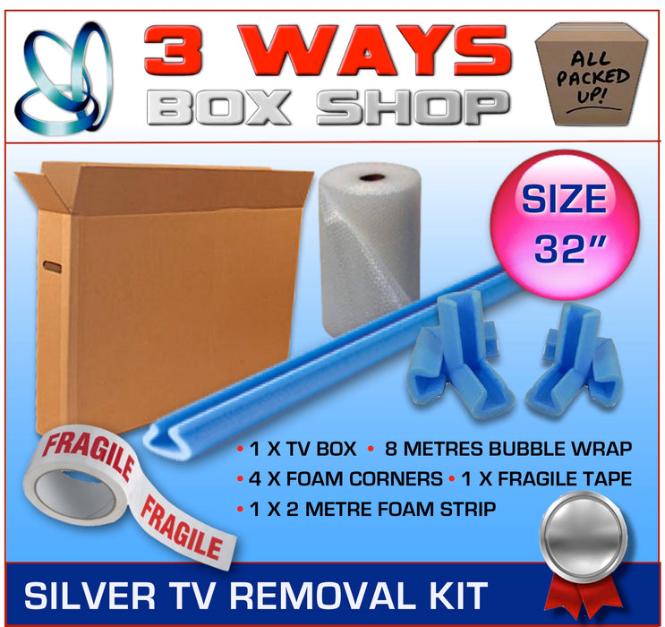 32 inch TV Box Kit House Removal Television Bubble Wrap 3 Ways Box Shop Peterborough