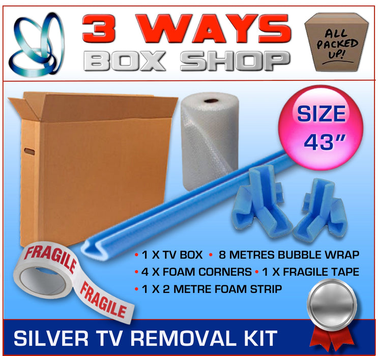 43 inch TV Box Kit House Removal Television Bubble Wrap 3 Ways Box Shop Peterborough