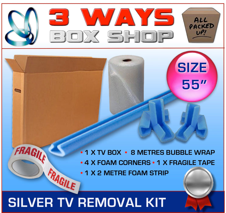 55 inch TV Box Kit House Removal Television Bubble Wrap 3 Ways Box Shop Peterborough
