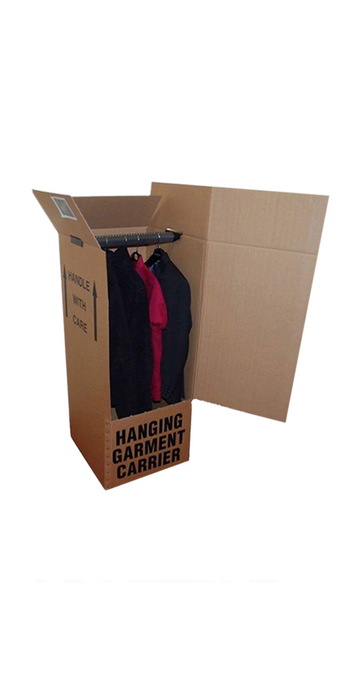 Wardrobe Cardboard Box with Hanger Clothing Garment Hanging Removal Box Strong Cardboard Box 3 Ways Box Shop Peterborough