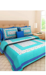 Blue colour floral zaal bedsheet with pillow cover