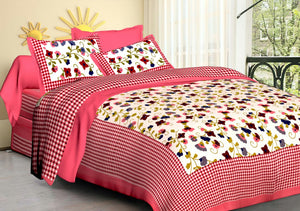 Pink Floral n checks print bedsheet with pillow cover