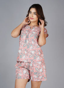 Women Printed Peach Night Suit Set