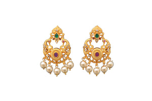 Emerald Rohdiam-Plated AD-Studded Handcrafted Oval Drop Earrings