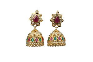 Emerald Rohdiam-Plated AD-Studded Handcrafted dome shape jhumka