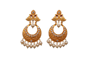 Pink peacock Rohdiam-Plated AD-Studded Handcrafted jhumka Earrings