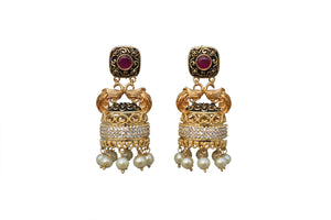 Pink black Rohdiam-Plated AD-Studded Handcrafted dome shape jhumkas