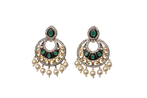 Emerald Rohdiam-Plated AD-Studded Handcrafted Earrings