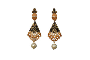 black Rohdiam-Plated AD-Studded Handcrafted Oval Drop Earrings