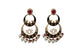 red and black Rohdiam-Plated AD-Studded Handcrafted chandbali Earrings