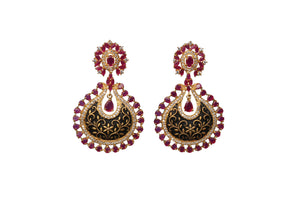 pink black Rohdiam-Plated AD-Studded Handcrafted Earrings