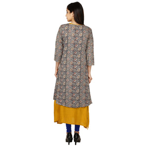 Praman long A-line mirror work kurti with inner