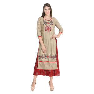 Praman double layer embroidery kurti