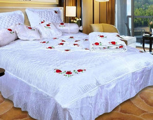 praman embroidery bedsheet 8pc set