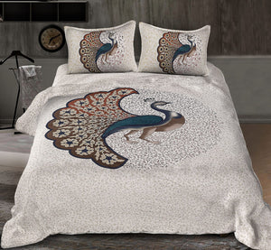 blue peacock double bedsheet with pillow cover