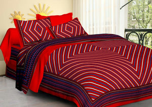 praman red lehariya print double bedsheet with pillow cover