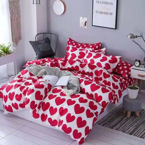 Red heart bedding set bedsheet with pillow cover (riversible bedsheet)