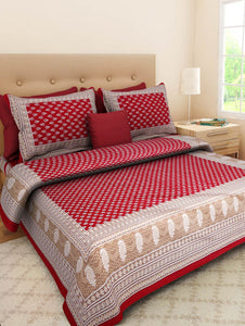 Red buti print bedsheet with pillow cover