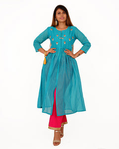 Praman Women HandWork Chanderi Festive Kurti With Plazzo  (Light Blue)